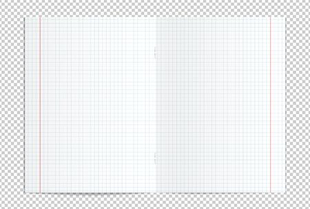 Vectorillustratie van realistische lege gecontroleerde uitgespreid exemplaarboek geïsoleerd op transparante achtergrond Stockfoto - 80044648