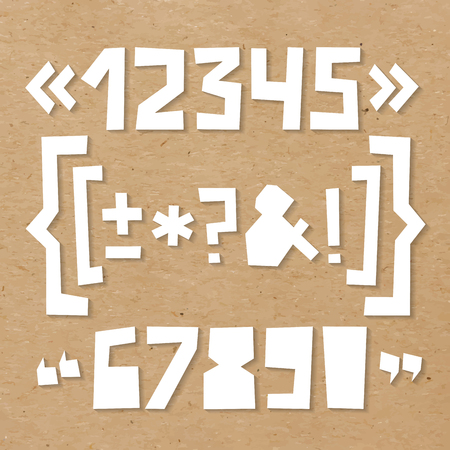 Rough numbers and symbols including brackets, curly braces, exclamation and question and quotation marks, ampersand, asterisk, plus, minus, dash or hyphen cut out of paper on cardboard background Çizim