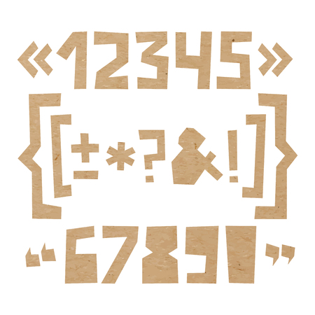 Rough numbers and symbols including brackets, curly braces, exclamation and question marks, quotation marks, ampersand, asterisk, plus, minus, dash or hyphen cut out of paper on cardboard background Çizim