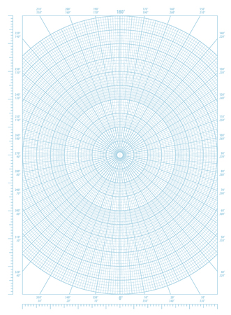 Blue vector polar coordinate circular grid graph paper, graduated every 1 degree, numbered every 10 degrees in both directions