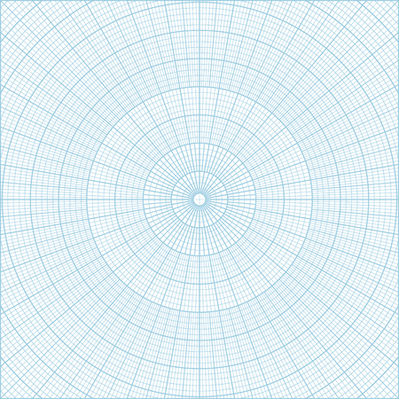 Blue vector polar coordinate circular grid graph paper background, graduated every 1 degree. Can be used for creating geometric patterns, drawing mandalas or sketching circular logos