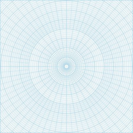 Fond bleu de vecteur de quadrillage de grille circulaire de coordonnée polaire bleue, graduée chaque 1 degré. Peut être utilisé pour créer des motifs géométriques, dessiner des mandalas ou dessiner des logos circulaires