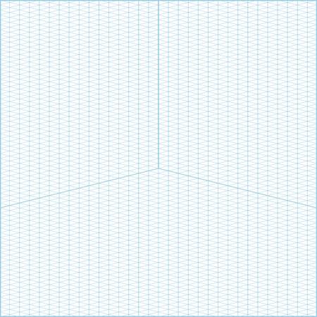 Vector blu grandangolo isometrico griglia grafico carta sfondo quadrato con assi Vettoriali