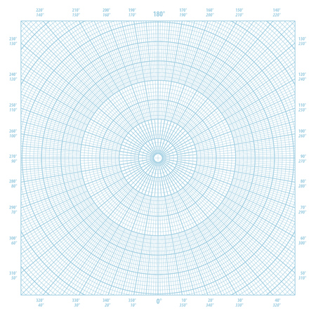 Blue vector polar coordinate circular grid graph paper background, graduated every 1 degree Imagens - 81561864