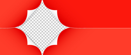 Vector illustration of realistic red paper corners isolated on transparent background Illustration