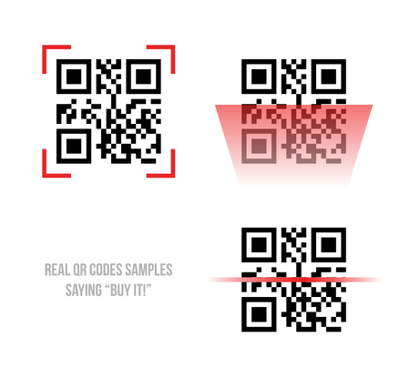 Vector illustration of Qr code samples. Scanned Qr code reads Buy it