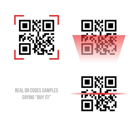 Vector illustration of Qr code samples. Scanned Qr code reads Buy it
