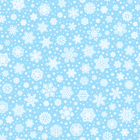 Vector seamless pattern of white snowflakes on light blue background for christmas or new year holiday cards, banners, wrapping paper and other winter decoration. Vector EPS 10 Illustration