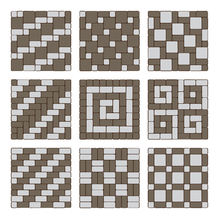 Set of street pavement blocks. Paving ideas and designs, sidewalk or driveway decoration, top view Stock Vector - 99455048