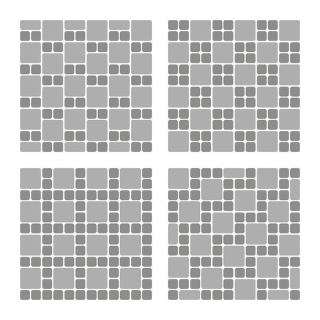 Set of street pavement blocks. Paving ideas and designs, sidewalk or driveway decoration, top view Illustration