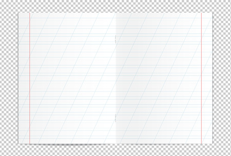 Vector illustration of realistic writing practice copybook spread isolated on transparent background. Lined pages for handwriting and lettering used in elementary school. Slanting lines every 25 mm Stock Illustratie