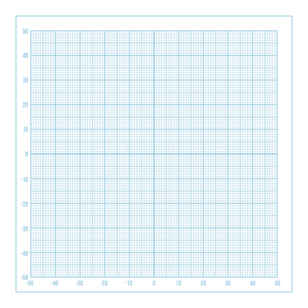 Vector blue metric graph paper with coordinate axis, 1mm grid accented every 10 millimeters Ilustração