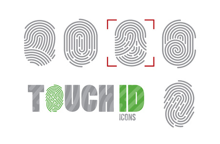 A set of fingerprint icons. Finger print scanning identification system. Biometric authorization, business security and personal data protection concept
