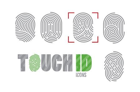 Zestaw ikon linii papilarnych. System identyfikacji skanujący odciski palców. Autoryzacja biometryczna, koncepcja bezpieczeństwa biznesowego i ochrony danych osobowych