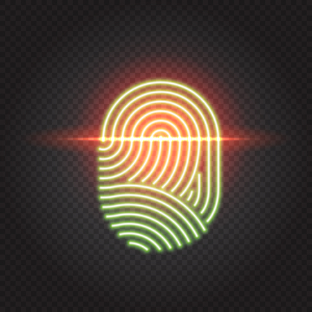 Fingerprint scanning identification system. Biometric authorization, business security and personal data protection concept.