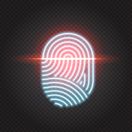 Finger print scanning identification system. Biometric authorization, business security and personal data protection concept. Touch ID neon icon