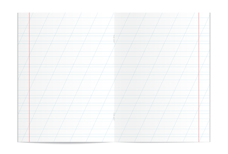 Vector illustration of realistic writing practice copybook spread isolated on white background. Lined pages for handwriting and lettering used in elementary school. Slanting lines every 25 mm