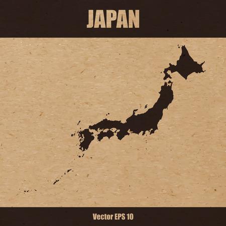 Vector illustration of detailed map of Japan on craft paper or cardboard