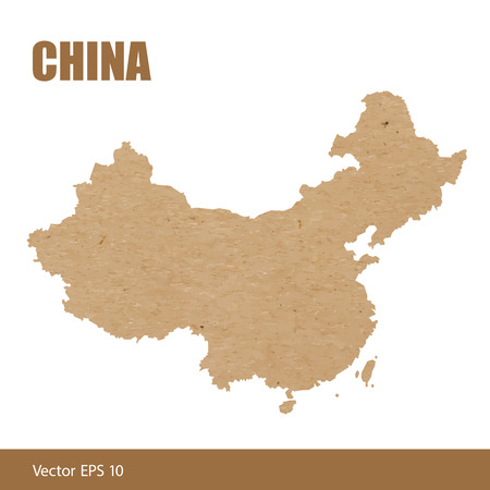 Vector illustration of detailed map of China cut out of craft paper or cardboard
