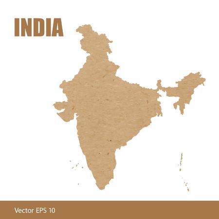 Vector illustration of detailed map of India cut out of craft paper or cardboard Ilustração