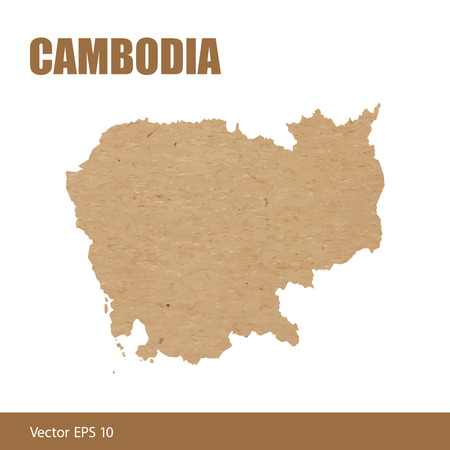 Vector illustration of detailed map of Cambodia cut out of craft paper or cardboard