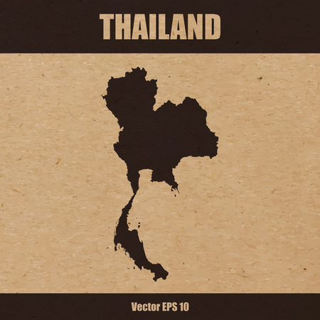 Vector illustration of detailed map of Thailand on craft paper or cardboard