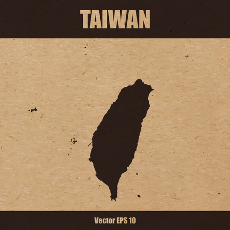 Vector illustration of detailed map of Taiwan on craft paper or cardboard