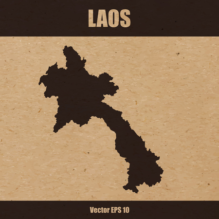 Map of Laos on craft paper or cardboard