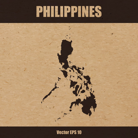 Vector illustration of detailed map of Philippines on craft paper or cardboard