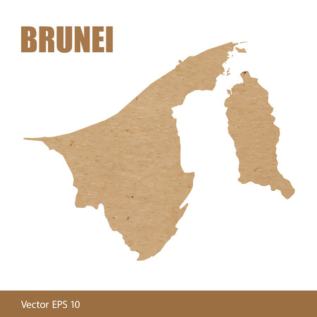 Vector illustration of detailed map of Brunei cut out of craft paper or cardboard Vector Illustration