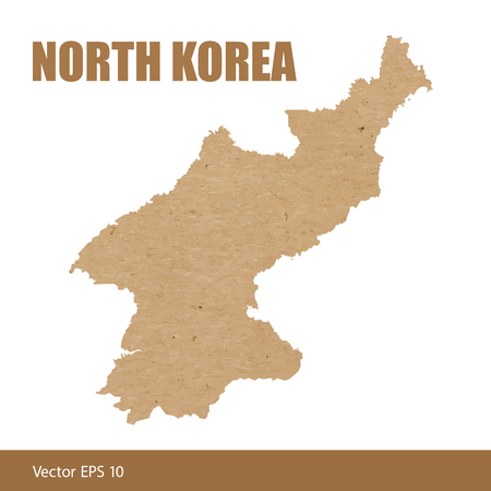 Vector illustration of detailed map of North Korea cut out of craft paper or cardboard