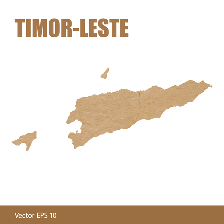 Vector illustration of detailed map of Timor-Leste or East Timor cut out of craft paper or cardboard