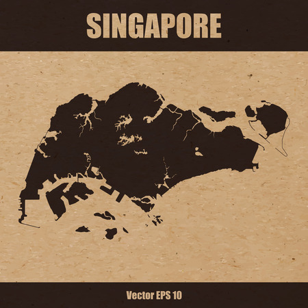 Vector illustration of detailed map of Singapore on craft paper or cardboard Çizim