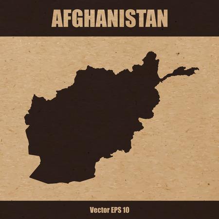 Map of Afghanistan on craft paper or cardboard Vector Illustration