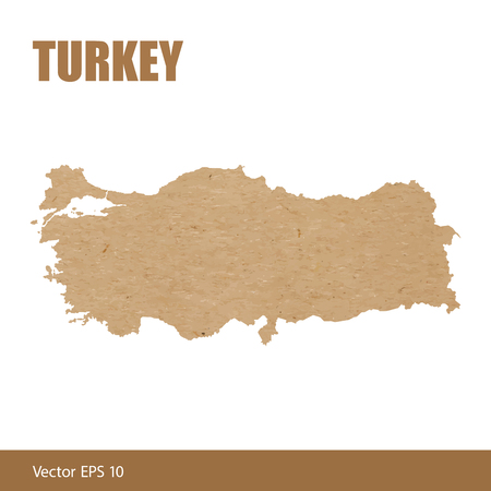 Map of Turkey cut out of craft paper or cardboard Vector Illustration