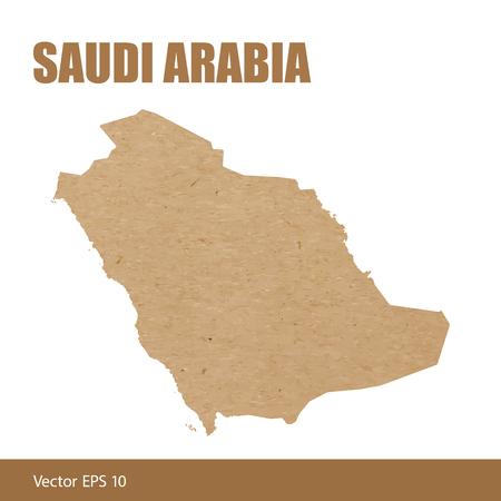 Map of Saudi Arabia cut out of craft paper or cardboard