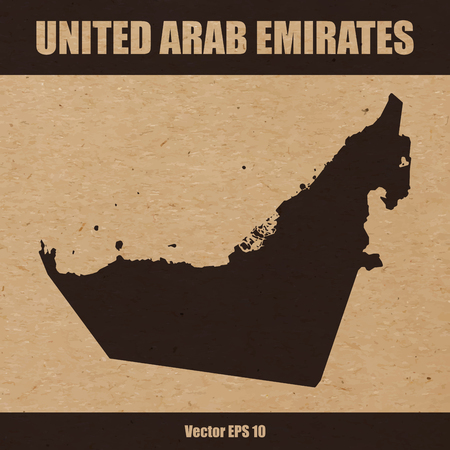 Map of United Arab Emirates UAE on craft paper or cardboard
