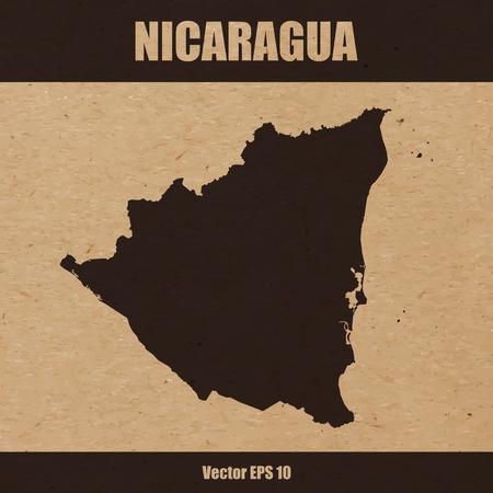 Vector illustration of detailed map of Nicaragua on craft paper or cardboard Vetores