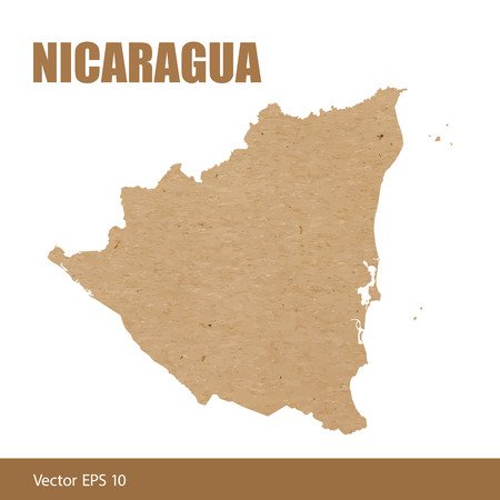Map of Nicaragua cut out of craft paper or cardboard Vetores