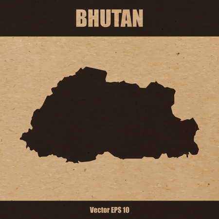 Detailed map of Bhutan on craft paper or cardboard