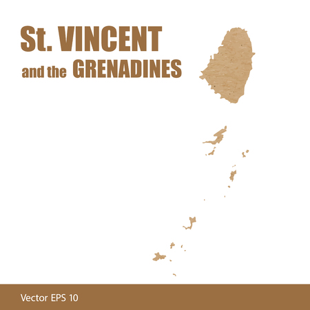 Detailed map of St.Vincent and the Grenadines islands cut out of craft paper or cardboard
