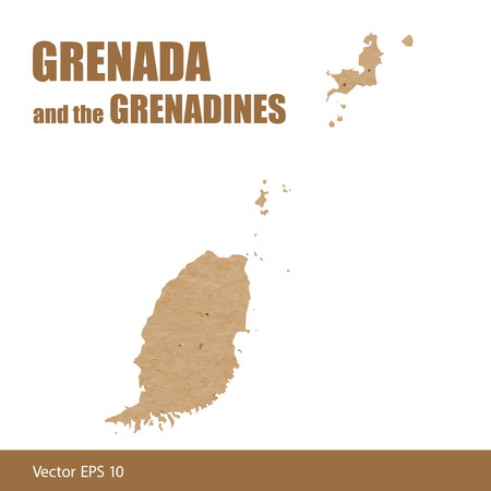 Detailed map of Grenada and the Grenadines islands cut out of craft paper or cardboard Иллюстрация