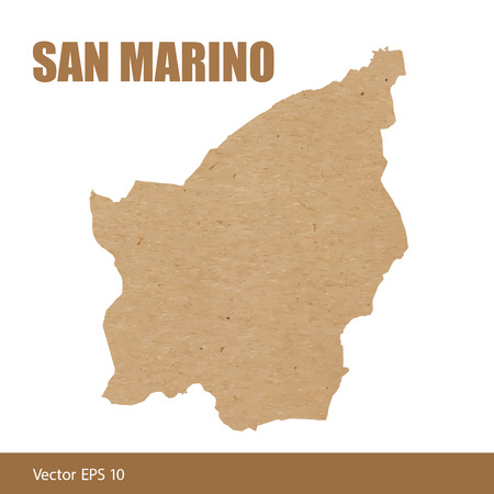 Detailed map of San Marino cut out of craft paper or cardboard Illustration