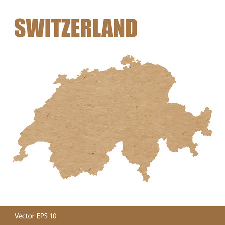 Detailed map of Switzerland cut out of craft paper or cardboard