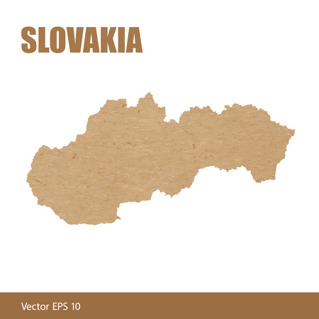 Detailed map of Slovakia cut out of craft paper or cardboard