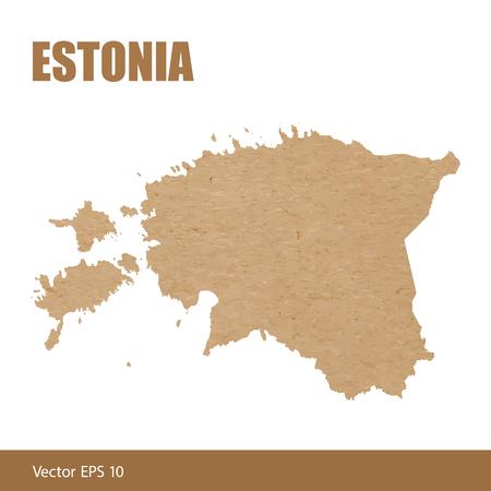 Illustration of detailed map of Estonia cut out of craft paper or cardboard
