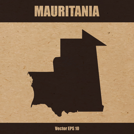 Illustration  of detailed map of Mauritania on craft paper or cardboard
