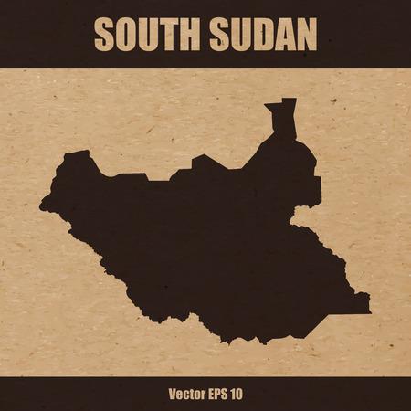 Illustration of detailed map of South Sudan on craft paper or cardboard Illustration