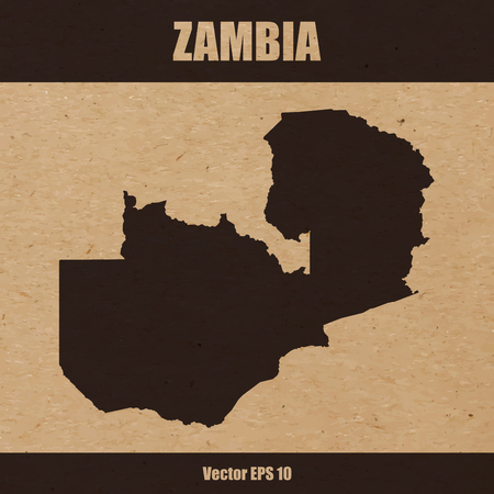 Detailed map of Zambia on craft paper or cardboard