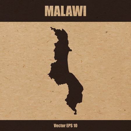 Detailed map of Malawi on craft paper or cardboard Illustration